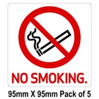 no smoking 95mm x 95mm pack of 5