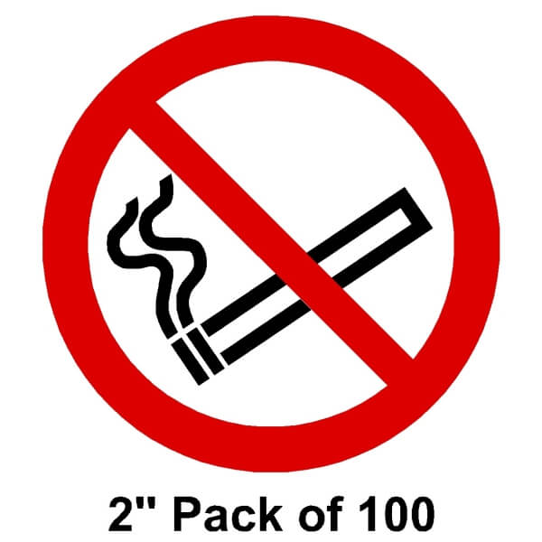 "100 No smoking Stickers 2"" (51mm)"