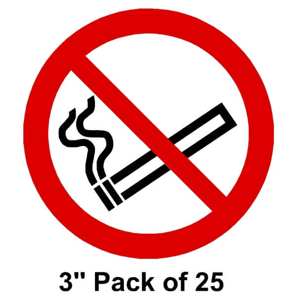 "25 No smoking Stickers 3"" (76mm)"