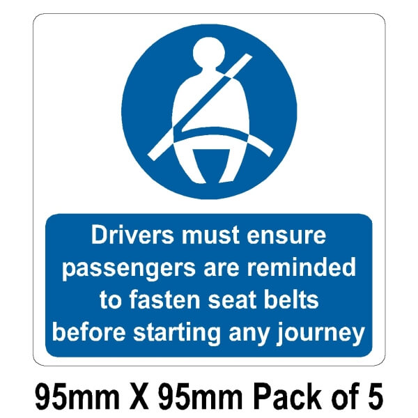 5 Seat belts drivers must ensure 95mm x 95mm