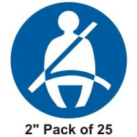 25mm Seat Belt stickers pack of 25