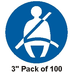 "100 Seat Belt Stickers 3"" (76mm)"