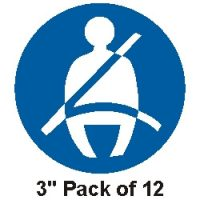76mm Seat Belt stickers pack of 12