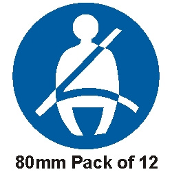 12 Seat Belt Stickers 80mm