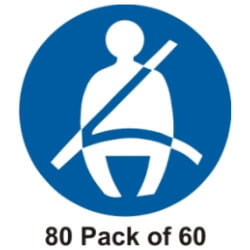 60 Seat Belt Stickers 80mm