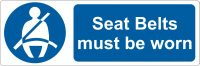 Seat belts must be worn Stickers 50mm x 150mm