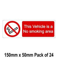 this vehicle is a no smoking area sticker 150mm x 50mm