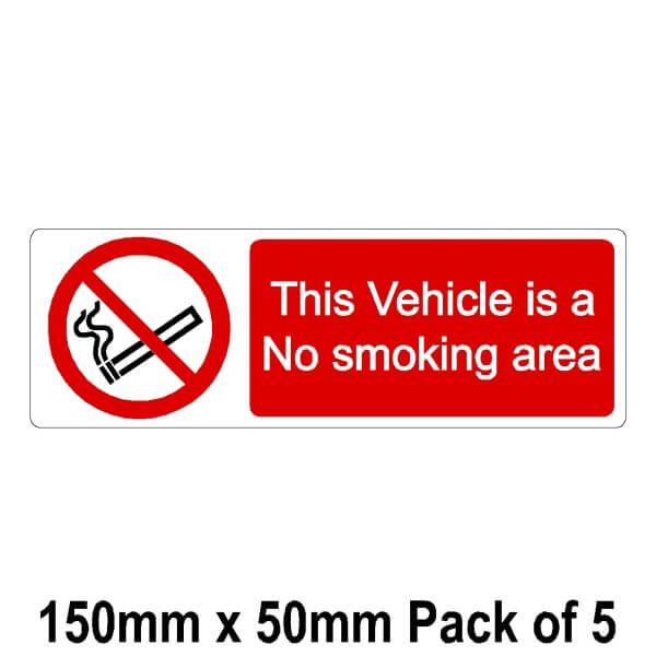 5 This Vehicle is a No smoking area 50mm x 150mm