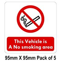 this vehicle is a no smoking area stickers
